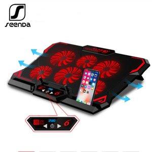 Seenda Gaming Laptop Cooler Six ventilateur d'ordinateur portable Cooling Pad LED silencieuse tactile Version portable réglable Support pour ordinateur portable