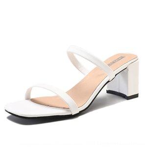 Sandales à talons épais 2019 nouveau style simple de fées de la mode mi-heeled la femme et pour les femmes Mules ioEea