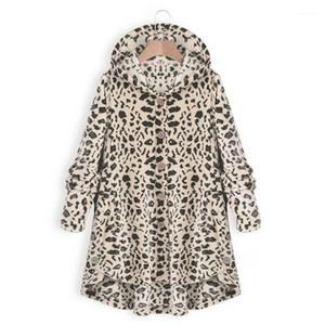 Женщины Одежда Нового Leopard мода куртка вскользь Сыпучего капюшон однобортного пальто Женского Vestidoes Плюс Размер
