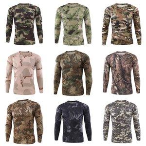 Erkek tişörtleri O Yaka Uzun Kollu Kasetli Kamuflaj Desen Fermuar Tasarım Pamuk Slim Fit For Man Erkekler Spor Tişörtü # 852