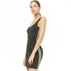 Primavera delle donne sexy Summer Dress Skirt One Step Gonna riflettente Panno principessa Abito senza maniche vestito dalla maglia
