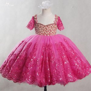 FG77 Real Pictures Yiaibridal Vestido Longo Pink Girls Dresses For Party Lace Communion Tulle Dress Kids Ball Gowns For Children
