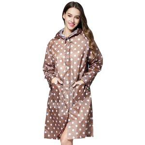 La pluie imperméable Raincoat Mode Yuding femmes pois Poncho Randonnée Veste à capuche adulte coupe-vent Femme Raincoat long