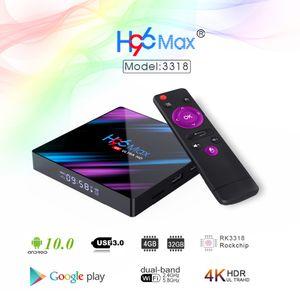 H96 Max Android 10 2g 16g 4g 32g 4g 64g rk3318 TV Box 100m lan port supports 2.4G 5G Wifi Quad Core BT4.0