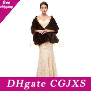 Winter многоцветный Cape 2019 искусственного меха Wrap Свадебный мыс пальто Поддельный Fox Fur Bridal шаль Long Шаль для женщин невесты невесты