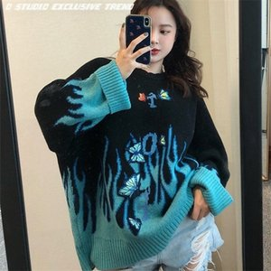 Autumn Winter Harajuku Flame Knit Sweater Butterfly Embroidery Women Pullover Casual Loose Sweaters Streetwear Jumper 2020 0926