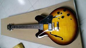 Custom Shop 50e anniversaire 335 Vintage Sunburst CS Semi Hollow Body Jazz guitare électrique érable flammé Retour, Dot inlays, Chrome Hardware