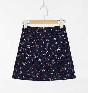 vHORZ C542 Un printemps et en été nouvelle ligne florale A- marine jupe bleu jupe courte mince tempérament taille haute robe courte ligne niche-