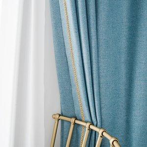 RZCortinas Blackout Rideaux pour Salon Chambre moderne coton épais rideau de lin géométriques Stores solides rideaux isolants