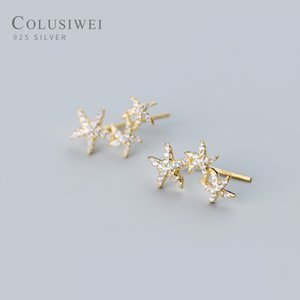 all'ingrosso Nuova Collezione 925 sterlina oro sveglio di colore stelle marine Orecchie Clip per monili delle donne Dazzling CZ Sterling Silver