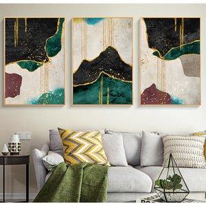 Özet Gloden Yeşil Black Line Posterler Ve Baskılar Modern Duvar Sanatı Resim Tuval Resmi Nordic Dekorasyon Ev Tablolar