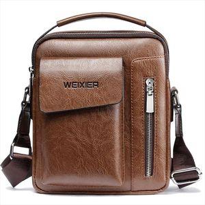 Vintage Messenger Bag Men Shoulder Bags Pu Leather Crossbody Bags For Men Bags Zipper Man Handbags