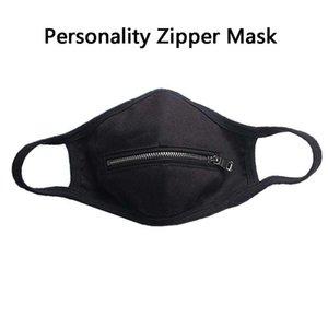 DHL envía la cremallera máscara máscaras lavable de algodón tela de cara Zip Abrir la rejilla de impresión Ciclismo boca cubierta Coma la bebida de portada cara pública