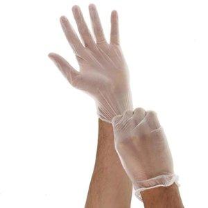 100 ADET Temizle Vinil Toz Ücretsiz Sınav Eldiven Tek Kullanımlık Lateks Ücretsiz Olmayan Steril PVC Eldiven ambidextrous Tek Koruma Eldivenler