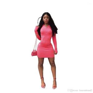 Robe Printemps Automne gaine manches longues sexy Robes Femmes d'été Designer bonbons couleur Bodycon