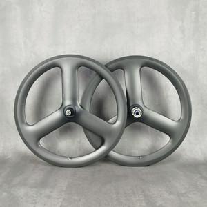 451 탄소 휠셋 20 인치 3 스포크 도로 트랙 고정 기어 자전거 매트 3K 전체 탄소 바퀴 트라이 스포크 도로 허브 파워 웨이 R13