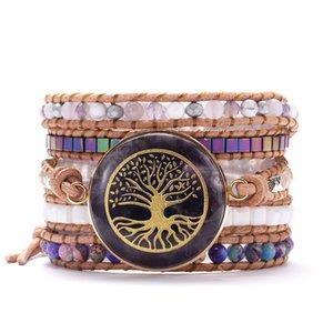 Life Tree Purple Natural Stones Women Wrap Bracelets Bangles Five Strands Handmade Beaded Leather Yoga Jewelry