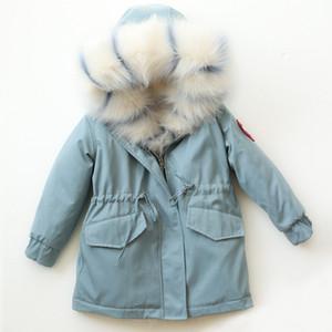 -30 Kış Çocuk Kürk Kapşonlu Çıkarılabilir Bebek Boy Ceket Kalın Kızlar Dış Giyim Giyim Genç Çocuk Windbreakers Isınma