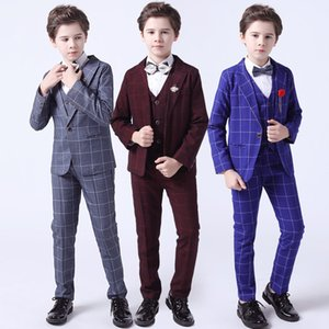 New Plaid Suits Wedding Boys Blazer Vest Pants 3PCS Suit Brand Formal Tuxedo Children Coat Outfits Kids Clothing Set