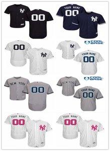 사용자 정의 NY 이름 번호 NewYorkYankeesSports 야구 유니폼 양키 남성 여성 청소년 흰색 고품질의 저지 무료 배송 빨간색