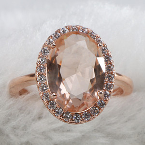 classic sterling silver rings for women with round shape topaz gemstones rose gold color women jewelry gift