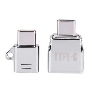 2pcs Vbestlife Tipo C OTG / sets micro USB Female Para Tipo C USB Macho OTG adaptador Charger liga de zinco Set terno com metal Lanyard