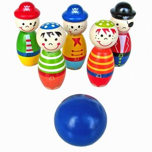 DishyKooker Wooden Pirate Doll Children Bowling Baby Hands-on Ability Intelligence Sports Fitness Table Top Toy
