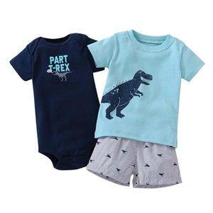 Times Lieblings neue Art und Weise Baby-Kleidung 100% Baumwolle Sommer-Baby-Kleidung stellt T-Shirt + Baby Body + Hosen-Karikatur gedruckt Y200803