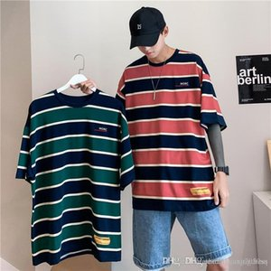 Summer ins retro striped half-sleeve t-shirt men and womens Korean version loose couple five-point short-sleeved casual bf wind beat bottoms