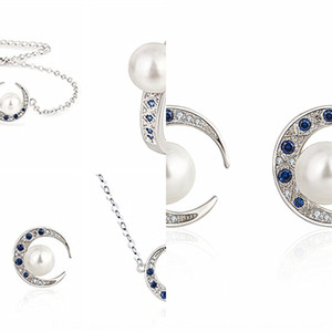 estilo coreano cor de jóias de prata Natural Crescent branco cravejado Azul pontas de cristal pulseira colar anel de ouvido unha pulseira Brinco de Pérola Pea