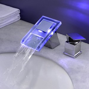 Yi yu brand LED lamp glass BaoMian water bath crock bibcock 3 piece separate basin faucet