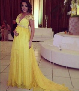 2019 Bright Yellow Short Sleeves Chiffon Long Evening Dresses For Pregnant Maternity Women Formal Party Prom Gowns Empire Beads Crystal Sash