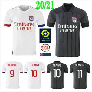 2020 2021 Olympique Lyonnais Football Maillots Aouar MEMPHIS TRAORE Fekir DEMBELE sur mesure 20 21 Lyon Maillot de pied adulte shirt Enfants football