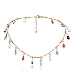 10pcs Lot Ethnic Style Water Drop Pendant Necklace Metal Colorful Fashion Bamboo Chain European Women Gold Chokers Jewelry Wholesale