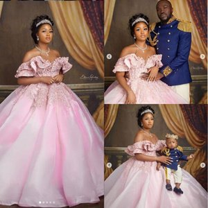 Amazing Pink Ball Gown Wedding Dresses Beaded Off The Shoulder Ruffles Lace Appliques Bridal Gowns Aso Ebi African Vestidos