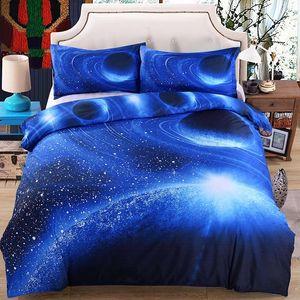 17 New 3D Print Galaxy Universe Bedding Set for Teen Boy Blue Starry Sky Zipper Duvet Cover Flat Sheet with 2 Pillowcases Be