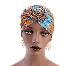 15 Renkler Kadınlar Afrika desen çiçek sarık Müslüman şapka Turban başörtüsü Headwrap Bayanlar Kemo Cap bandanas Saç Aksesuarları