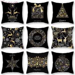 Taoup Gold Christmas Elk Deer Merry Christmas Pillowcase Xmas Decor for Home Decor for Ornaments Xmas Noel Santa Claus