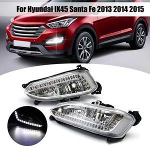 1 Pair 12V LED Daytime Running Light Waterproof Fog Lamp for Hyundai Santa Fe IX45 2013 2015 Auto Accessories