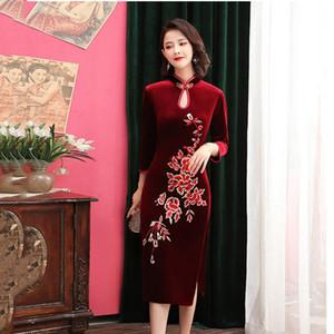 Velour Red Embroidery Flower Female Evening Party Dress High Split Sexy Cheongsam Vestidso Mandarin Collar Half Sleeve Qipao