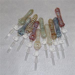 Neues Glas NC-Kit mit 10mm Quarz-Tipps Titanium Tipps Keck Clip Silikon-Container Reclaimer Nector Collector Kit für Raucher