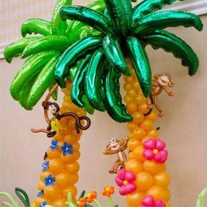 10 stück 36 zoll Palmbälle Hochzeitsraum / Eröffnung Zeremonie Dekor Kokosnussbaum Blatt Aluminium Folie Ballons Urlaub Strand Lieferungen