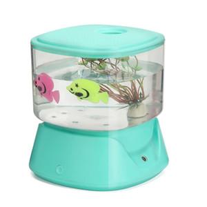 Humidifier Creative Fish Tank Mini USB Ménage humidificateur d'air ultrasonique Belle huile Aroma Night Light DC5V Diffuseur