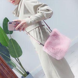 2020 Designer Women Handbags Faux Mink Fur Plush Ladies Shoulder Bucket Bags Fashion Female Crossbody Bag Clutch Purse