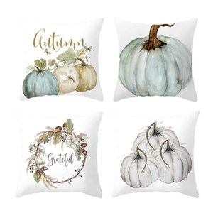 4PC 45x45cm Fall Halloween Pumpkin Pillow Case Waist Throw Cushion Cover Sofa Home Decor Cushion Pillow Case Bedroom Office New