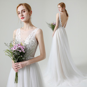 Graceful Applique Lace Beach Wedding Dresses White Ivory Formal Wedding Gowns A-Line Bridal Gowns 2021 New Arrival