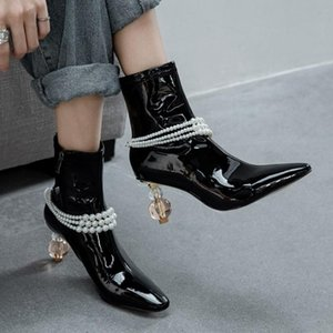Womens Pointy Toe Pearls Ankle Boots Strange Clear Transparent Crystal Heel Shoes Genuine Leather Retro Vintage
