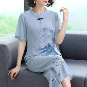 roupas de verão bordados 2020 novo estilo étnico Suit nacionalidade Grupo étnico top fato de duas peças de meia-idade das mulheres de meia-idade para as mulheres