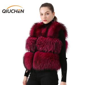 Qiuchen PJ8051 2020 donne reali della maglia della pelliccia genuina Raccoon Fur Gilet Gilet moda inverno delle donne giubbotto corto CX200817 di alta qualità