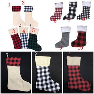 Plaid Weihnachtsstrumpf Cotton Büffel Flanell Black Christmas Stockings Christmas Decor Poly Sublimation Rohlinge Weihnachtsstrümpfe AHC2426